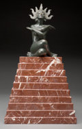 Sculpture, An Art Deco Patinated Bronze Seated Goddess on Marble Pyramid, early 20th century. 16-1/2 inches high (41.9 cm) ... (Total: 2 Items)