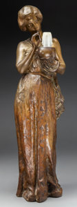 Bronze:European, A Large Bronze Figure of a Woman Holding a Candle Mounted as aLamp, late 19th-early 20th century. 25 inches high (63.5 cm)...