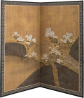 Asian:Japanese, A Large Japanese Painted Room Screen with Chrysanthemum and FloralMotif, Meiji Period, circa 1868-1912. 67-5/8 inches high ...