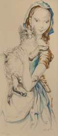Prints & Multiples, Léonard Tsuguharu Foujita (French/Japanese, 1886-1968). Girl with Cat. Lithograph in colors on paper. 17-3/4 x 7-1/2 inc...