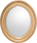 Furniture : Continental, A Neoclassical Oval Giltwood Mirror, circa 1900. 39 h x 34 w x2-7/8 d inches (99.1 x 86.4 x 7.3 cm). ...