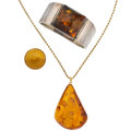 Estate Jewelry:Lots, Amber, Gold, Sterling Silver Jewelry . ... (Total: 3 Items)