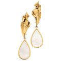 Estate Jewelry:Earrings, Mother-of-Pearl, Gold Earrings. ...