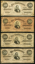 Confederate Notes, T66 $50 1864 PF-1; -2; -3; -13 Cr. 495; 496; 497; 502.. ... (Total: 4 notes)