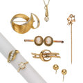 Estate Jewelry:Lots, Diamond, Cultured Pearl, Shell Cameo, Gold Jewelry. ... (Total: 8 Items)
