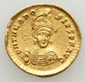 Ancients:Roman Imperial, Ancients: Theodosius II (AD 402-450). AV solidus (4.41 gm). XF,flan flaw, peck marks, scratch....