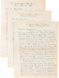 George Santayana. Three Autograph Letters Signed, to Martin Birnbaum. Rome: October 12th 1945, February 4 1946, and J