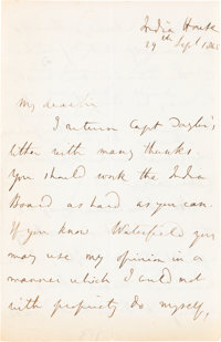 John Stuart Mill. Autograph Letter Signed. India House: 29 Sept. 1848. Four sides of a folded 9 x 7 inch sheet (228 &tim...
