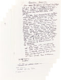 """Books:Literature 1900-up, Henry Miller. Holograph Manuscript Signed, of an Essay entitled, """"America, America."""" 1978. Six 8.5 x 11 sheets (215 x 280 mm..."""