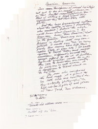 """Henry Miller. Holograph Manuscript Signed, of an Essay entitled, """"America, America."""" 1978. Six 8.5 x 11 sheets..."""