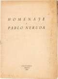 "Books:Literature 1900-up, Pablo Neruda. Homenaje a Pablo Neruda. Madrid: Plutarco, 1935. First edition, consisting of the series of poems ""Tre..."