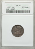 Bust Dimes: , 1837 10C XF40 ANACS. NGC Census: (11/115). PCGS Population:(20/160). XF40. Mintage 359,500. ...