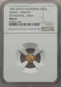 California Gold Charms, 1853 Octagonal California Gold, Indian - Wreath, MS63 NGC. 10 mm....