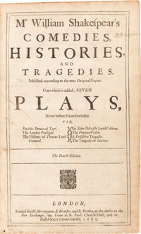 William Shakespear[e]. Mr. William Shakespear's Comedies, Histories, and Tragedies. Publishe