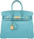 "Luxury Accessories:Bags, Hermes 25cm Blue Saint Cyr Swift Leather Birkin Bag with Gold Hardware . T, 2015 . Condition: 2. 9.5"" Width x 8"" H..."