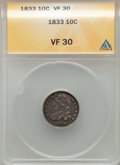 Bust Dimes: , 1833 10C VF30 ANACS. NGC Census: (11/281). PCGS Population:(33/436). Mintage 485,000. ...