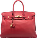 Luxury Accessories:Bags, Hermes 35cm Rouge Vif Courchevel Leather Birkin Bag with GoldHardware. Y Circle, 1995. Condition: ...
