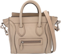 "Celine Taupe Leather Nano Luggage Tote Bag Condition: 4 8"" Width x 7.5"" Height x 4"" Depth"