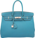 """Luxury Accessories:Bags, Hermes 35cm Blue Jean Togo Leather Birkin Bag with PalladiumHardware. H Square, 2004. Condition: 4. 14"""" Width x 10""""Heigh..."""