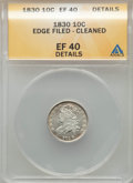 Bust Dimes: , 1830 10C Medium 10C -- Edge Damaged, Cleaned -- ANACS. XF40Details. NGC Census: (7/158). PCGS Population: (20/193). XF40. ...