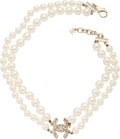"Luxury Accessories:Accessories, Chanel Faux Pearl and Crystal CC Double Strand Necklace.Condition: 3. 17"" Length End to End. Property of a Lady. ..."
