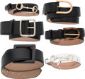 "Luxury Accessories:Accessories, Gucci Set of Six; Black and White Leather Belts. Condition:3. 33"" Length x 2"" Width. ..."