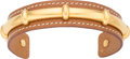 "Luxury Accessories:Accessories, Hermes Gold Courchevel Leather Bamboo Cuff Bracelet. Condition:4. 2.5"" Diameter x 0.6"" Width. Property of a Lady. ..."