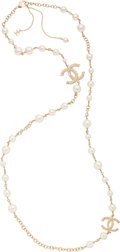 "Luxury Accessories:Accessories, Chanel Faux Pearl and CC Pendant Single Strand Necklace.Condition: 3. 42"" Length End to End. Property of a ..."