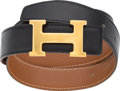 """Luxury Accessories:Accessories, Hermes 68cm Black Calf Box Leather & Gold Courchevel Leather Reversible H Belt with Gold Hardware. Condition: 4. 1.25"""" Wid..."""