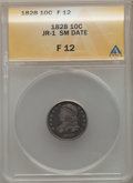 Bust Dimes, 1828 10C Small Date, Square Base 2, JR-1, R.2, Fine 12 ANACS. NGCCensus: (1/52). PCGS Population: (0/5). Fine 12. Mintage ...