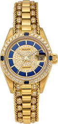 Estate Jewelry:Watches, Rolex Lady's Diamond, Sapphire, Enamel, Gold DateJust Watch. ...