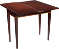 Furniture , A Hepplewhite-Style Mahogany and Burled Maple Flip-Top Games Table, 19th century. 31-1/8 h x 34-1/4 w x 16-5/8 d inches (79....