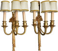 Lighting:Sconces, Two Pairs of Louis XVI-Style Gilt Bronze Two and Three-Light Wall Sconces, late 20th-21st century. 19-1/4 h x 9-1/2 w x 5-1/... (Total: 4 Items)