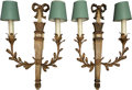 Lighting:Sconces, Two Pairs of Louis XVI-Style Tole Painted Two-Light Wooden Wall Sconces, 20th century. 24 inches high x 11-1/4 inches wide (... (Total: 4 Items)