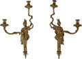 Decorative Arts, French:Lamps & Lighting, A Pair of Empire-Style Gilt Bronze Two-Light Figural Wall Sconces.24 inches high x 12-1/2 inches wide (61.0 x 31.8 cm). ... (Total: 2Items)