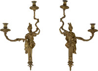 A Pair of Empire-Style Gilt Bronze Two-Light Figural Wall Sconces 24 inches high x 12-1/2 inches wide (61.0 x 31.8