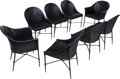 Furniture : Continental, Eight Modernist Black Leather and Iron Side Chairs, 20th century.33 h x 21-1/2 w x 21 d inches (83.8 x 54.6 x 53.3 cm). ... (Total:8 Items)