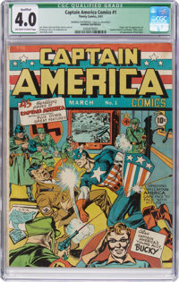 Captain America Comics #1 (Timely, 1941) CGC Qualified VG 4.0 Off-White to White Pages