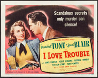 "I Love Trouble (Columbia, 1948). Fine+. Title Lobby Card (11"" X 14""). Film Noir"