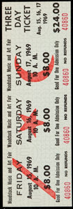 Miscellaneous Collectibles, 1969 Woodstock Music and Art Fair: Unused Three Day Ticket.. ...