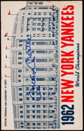 Autographs:Others, 1962 New York Yankees Program Signed by Mickey Mantle Plus One 1958Unsigned Program With Ticket Stub.. ...