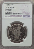 Barber Half Dollars: , 1904-S 50C -- Stained -- Details NGC. VF. NGC Census: (2/61). PCGS Population: (35/194). CDN: $750 Whsle. Bid for problem-f...
