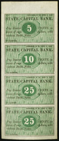 Obsoletes By State:New Hampshire, Concord, NH- Unknown Issuer at State Capital Bank 5¢-10¢-25¢-25¢ Nov. 1, 1862 Uncut Sheet. ...