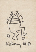 Works on Paper, Keith Haring (1958-1990). Untitled, 1989. Ink on cardboard. 12 x 9 inches (30.5 x 22.9 cm). Signed and dated on recto: ...