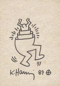 Keith Haring (1958-1990) Untitled, 1989 Ink on cardboard 12 x 9 inches (30.5 x 22.9 cm) Signed