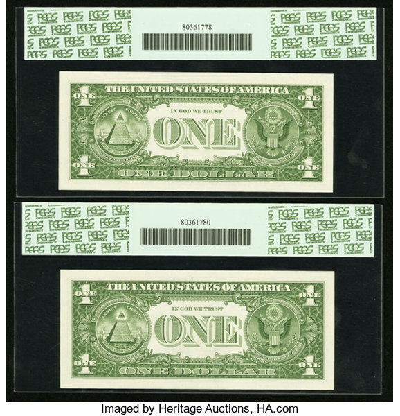 Fr. 1621* $1 1957B Silver Certificate Stars. Two Examples. | Lot ...