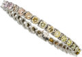 Estate Jewelry:Bracelets, Multi-Color Diamond, Platinum Bracelet . ...