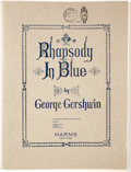 Books:Music & Sheet Music, George Gershwin. Rhapsody in Blue. New York: Harms, [circa1927]. Sheet music; presentation copy, inscribed by Ger...