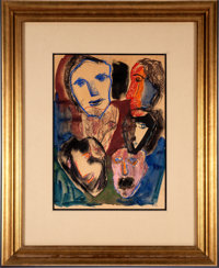 Henry Miller. Untitled. Original Pastel and Watercolor Drawing of Six Faces. [No place, 1944]. On brown paper. Signed