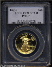 1987-P G$25 Half-Ounce Gold Eagle PR70 Deep Cameo PCGS. Rich orange-gold patina overall, a perfect coin with fabulous ey...